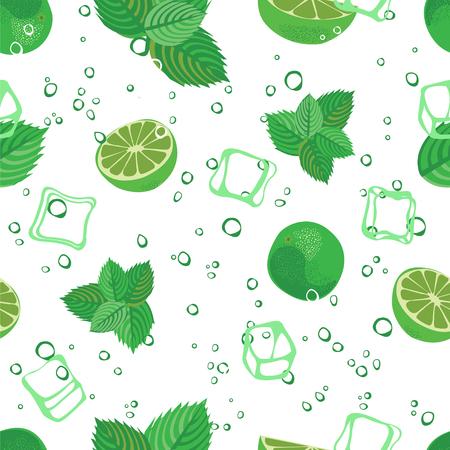 spearmint: Mojito seamless pattern. Mojito green mint and lime background. Mojito lemonade pattern on white background..