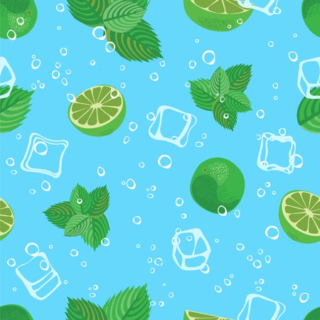 seltzer: Mojito cocktail lime mint and ice blue water seamless pattern. Mojito lime background.
