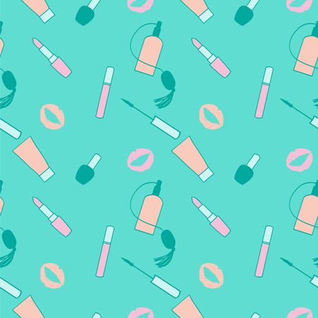 eau de perfume: Blue, teal and pink makeup seamless pattern for women. Beauty products makeup background. Illustration