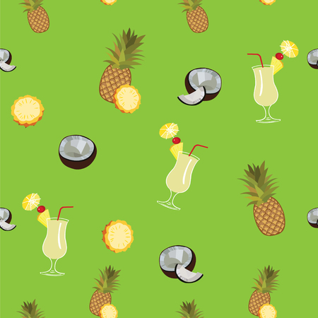 pina colada: green seamless  pattern. Pineapple, coconut and Pina Colada cocktail seamless pattern on green background.