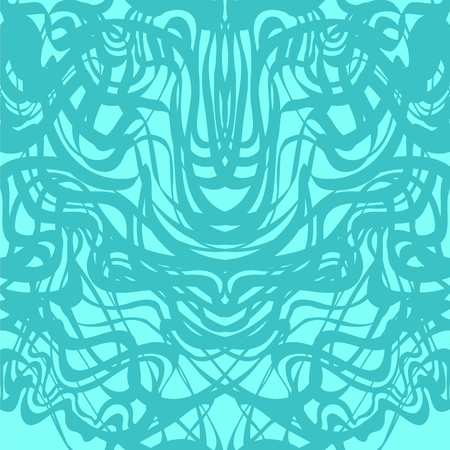 Abstract blue lace moire pattern. Abstract curve blue lines wave background. Rorschach test pattern.