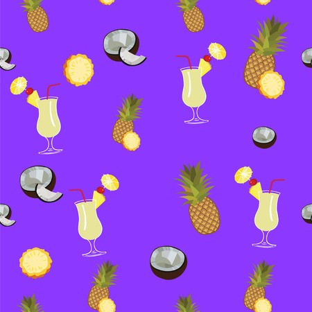 pina colada: Pina Colada purple seamless  pattern. Pineapple, coconut and Pina Colada cocktail seamless pattern on purple background.