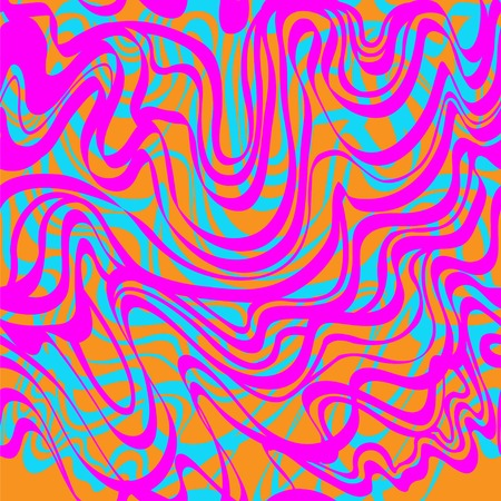 bubble gum: Abstract blue, orange and pink moire acid pattern. Abstract tangled curve lines wave background. Illustration