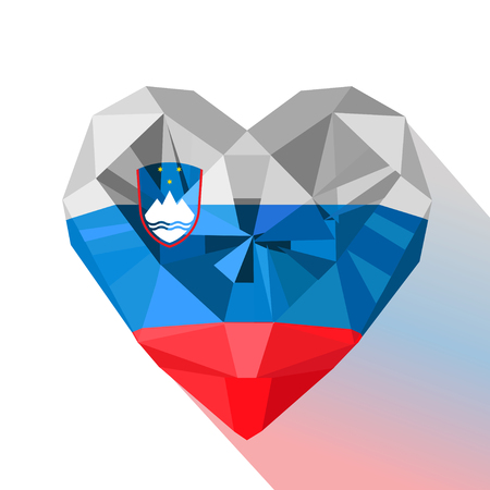 Vector crystal gem jewelry Slovenian heart with the flag of the Republic of Slovenia. Flat style logo symbol of love Slovenia.Europe.Sovereignty Day 25 October.Statehood Day 25 June. Flag of Slovenia. Illustration