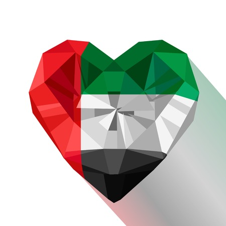 Vector crystal gem jewelry Emirati heart with the flag of The United Arab Emirates.Flat style symbol of love Emirates. UAE. National Day December 2. Flag of Emirates.