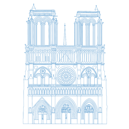sights: Notre Dame de Paris Cathedral, France. Vector linear outline isolated illustration. Blue contour drawing of Notre Dame.