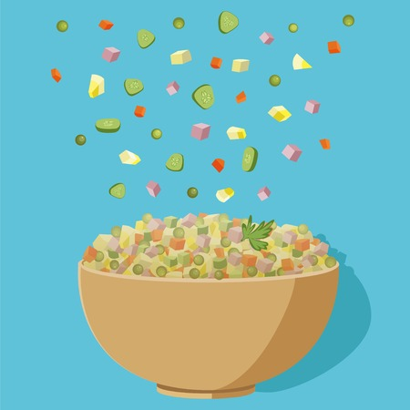 Vector flat illustration of Russian salad. Image of russian traditional new years dish Olivier salad. Potato salad vector illustration.Vector Illustration of bowl and salad ingredients for Oliviers recipe.