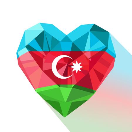 Vector crystal gem jewelry Azerbaijans heart with the flag of  the Republic of Azerbaijan. Flat style logo symbol of love Azerbaijan. Flag Day November 9. Republic Day