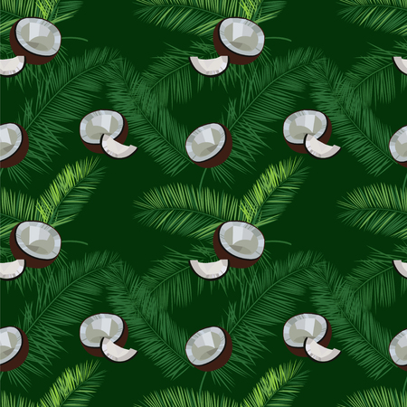 dusky: Green vector coconut seamless  pattern. Coconut, palm leaves seamless vector pattern on green background. Tropic hawaiian print illustration with coconut and palm leaves.