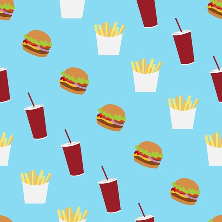 starvation: Fast food seamless vector pattern. Flat style fast food icons background. Pattern with french fry, burger, ice cream and soda fast food on blue background.