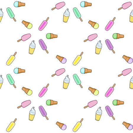 frozen yogurt: Ice cream, popsicle, frozen yogurt seamless vector pattern. White background. Ice vream pattern. Illustration of different ice cream. Seamless pattern with ice cream.