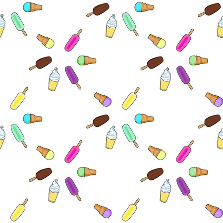 frozen yogurt: Ice cream, popsicle, frozen yogurt seamless vector pattern. White background. Ice vream colorful pattern. Illustration of different ice cream. Seamless pattern with ice cream.