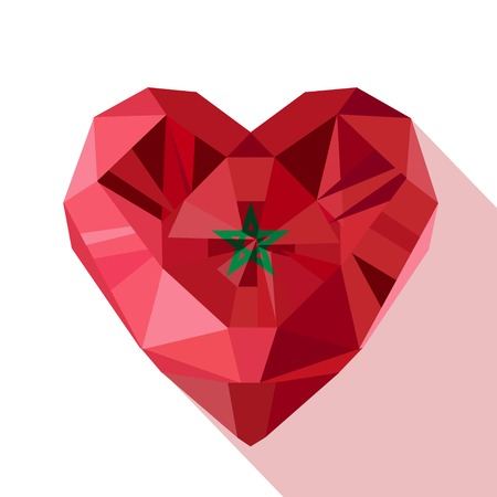 crystal heart: Vector crystal gem jewelry Moroccan heart with the flag of the Kingdom of Morocco. Flat style logo symbol of love Morocco. North Africa. 18 November Independence Day.