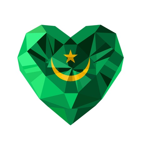 crystal heart: Vector crystal gem jewelry Mauritanian heart with the flag of the Islamic Republic of Mauritania. Flat style logo symbol of love Mauritania. North Africa. Independence Day November 28.
