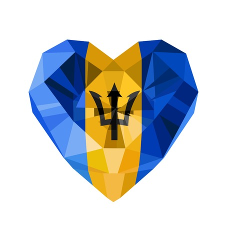 Vector crystal gem jewelry Barbadian heart with the flag of Barbados. Flat style logo symbol of love Barbados. 30 November Independence Day of Barbados.