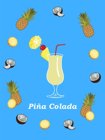 colada: Pina Colada vector poster illustration. Flat vector illustration with Pina Colada cocktail and ingredients. Pineapple and coconut. Pina Colada poster template.