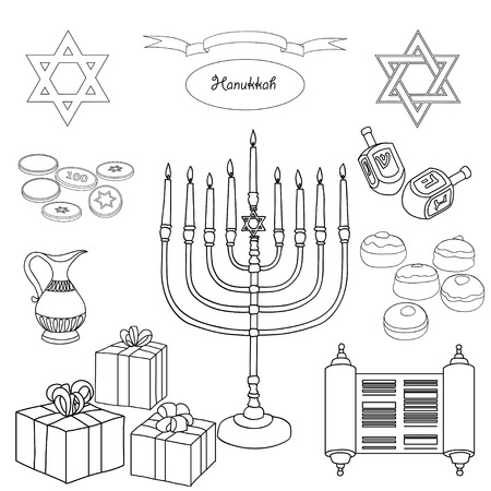 gelt: Vector black and white set of Hanukkah objects. Jewish holidays illustration greeting card. Star of David, menorah, dreidel, gelt, presents on white background.