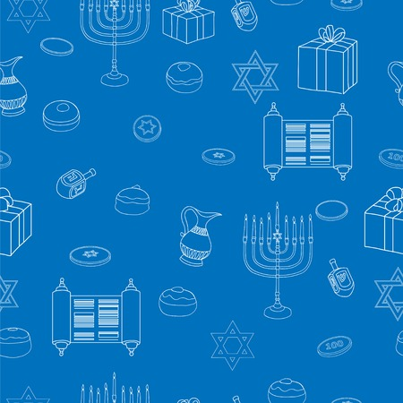 gelt: Vector Happy Hanukkah Holiday Seamless Pattern Background. Jewish Colorful Blue and White Illustration.