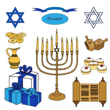 gelt: Vector colorful set of Hanukkah objects. Jewish holidays illustration greeting card. Star of David, menorah, dreidel, gelt, presents on white background.