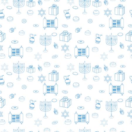 Vector Happy Hanukkah Holiday Seamless Pattern Background. Jewish Colorful White Illustration. Illustration