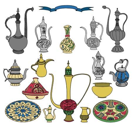 libyan: Colorful vector set of arabic ornamental crockery with teapots, pitchers, jug and plates.Oriental pottery muslim dishes crockery illustration on white background.Eid al Fitr.Ramadan.Eid al-Adha.Nowruz Illustration