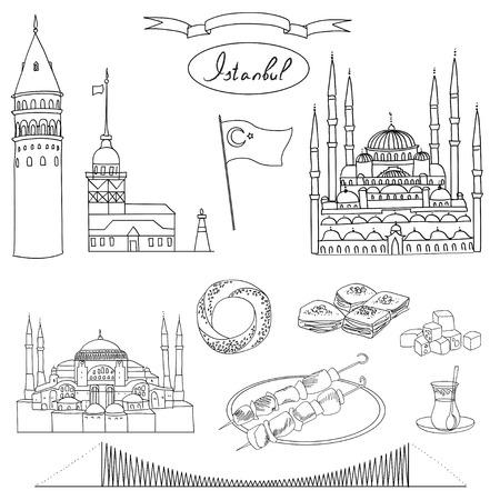 Black and white Istanbul tourist isolated object vector set. Galata Tower, Maidens Tower, Blue Mosque, Hagia Sophia, Bosphorus Bridge, Simit, Baklava, Turkish Delight, Tea, Kebab, Turkish flag.
