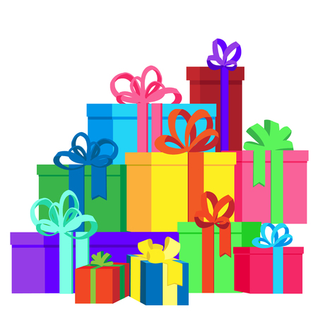 Flat vector illustration isolated on white background with presents and gift boxes for Christmas holidays or Birthday.2017. New Year and Christmas presents illustration. Isolated gifts.