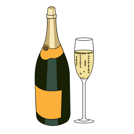 sparkling wine: Bottle of a sparkling wine and glass of champagne isolated vector flat illustration on white background. Celebration with champagne illustration.