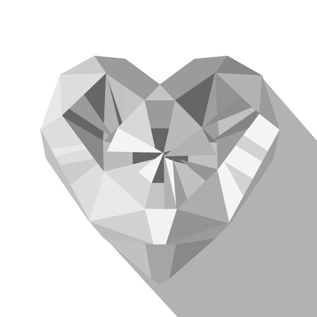 Polygonal white crystal diamond heart flat style vector illustration on white background. Valentines day and wedding greeting card.