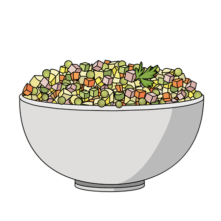russian salad: Flat vector illustration of Russian salad. Image of russian traditional new years dish Olivier salad.