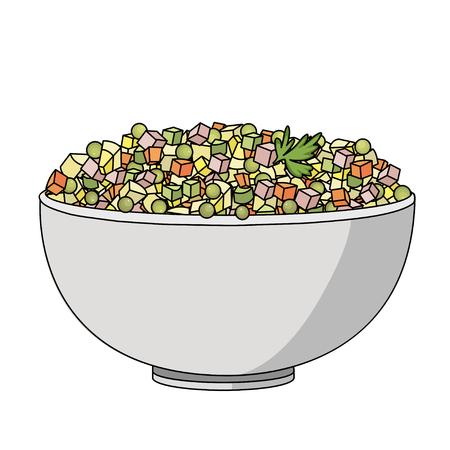 ensalada rusa: ilustración vectorial plano de la ensalada rusa. Imagen de la ensalada rusa plato tradicional ruso de año nuevo. Vectores