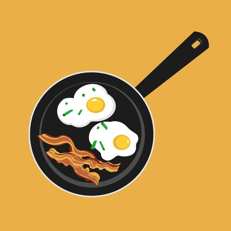 Vector flat illustration of pan with sunny side up eggs and fried bacon. Image of classic American breakfast bacon and eggs