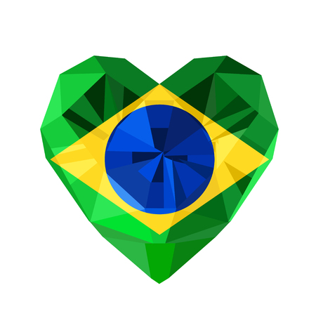 federative republic of brazil: Vector crystal gem jewelry Brazilian heart with the flag of the Federative Republic of Brazil.