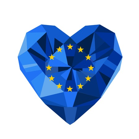 council: Vector crystal gem jewelry European heart with the flag of  the European Union. Flat style logo symbol of love EU. Council of Europe Illustration