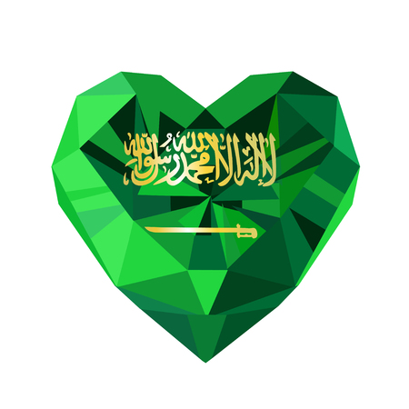 unification: Vector crystal gem jewelry Saudi Arabian  heart with the flag of the Kingdom of Saudi Arabia. Flat style logo symbol of love KSA. Saudi National Day. Unification of the Kingdom. 23 September Illustration