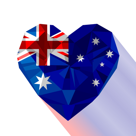 Vector crystal gem jewelry Australian heart with the Commonwealth of Australia. Flat style logo symbol of love Australia. National Day of Australia 26 January