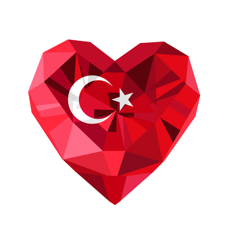 Vector  jewelry Turkish heart with the flag of the Republic of Turkey. Flat style logo of love Turkey.19 May the Commemoration of Ataturk, Flag of Turkey.Turkey symbol.Victory Republic Day 29 October. Illustration