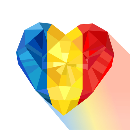 Crystal gem jewelry heart with the flag of the Romania. Flat style logo symbol of love Romania. Constitution Day. Bucovina Day