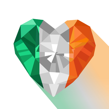 Vector crystal gem jewelry Irish heart with the flag of the Republic of Ireland. Flat style logo symbol of love Ireland. Saint Patricks Day. Europe Illustration