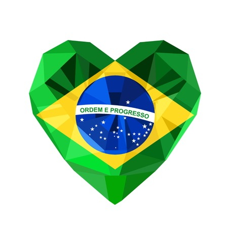 federative republic of brazil: Vector crystal gem jewelry Brazilian heart with the flag of the Federative Republic of Brazil. Flat style logo symbol of love Brazil. Rio de Janeiro. Independence of Brazil 7 September