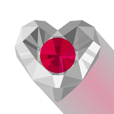 Crystal Gem Jewelry Japanese Heart With The Flag Of State Of
