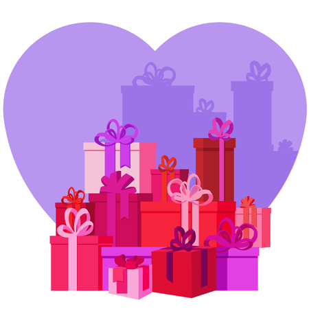 Flat vector Greeting Card illustration presents, gifts, boxes for Valentines Day,  holidays or Birthday. Valentines day sales shopping. Mountain Gifts with love. Illustration