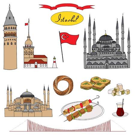 sights: Colorful Istanbul tourist isolated object vector set. Galata Tower, Maidens Tower, Blue Mosque, Hagia Sophia, Bosphorus Bridge, Simit, Baklava, Turkish Delight, Tea, Kebab, Turkish flag.