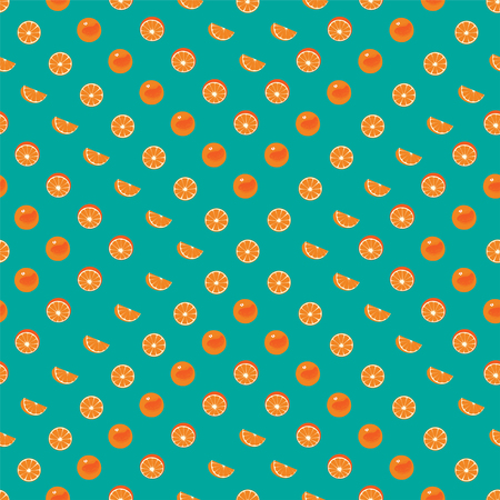 Orange with peel and orange slice seamless vector geometric pattern on green teal background