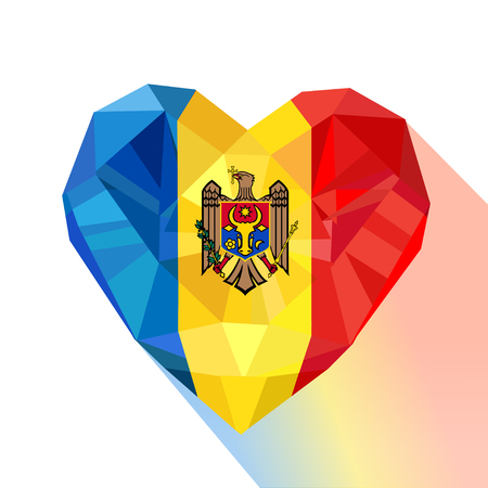 Vector crystal gem jewelry Moldavian heart with the flag of  the Republic of Moldova. Flat style logo symbol of love Moldova. Independence Day August 27. Europe