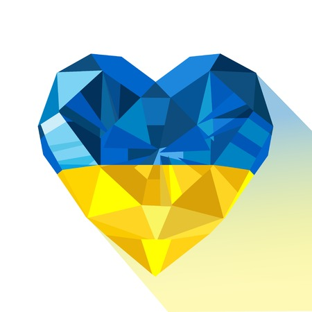 Vector crystal gem jewelry Ukrainian heart with the flag of the Ukraine. Flat style logo symbol of love Ukraine. Europe. August 24 Independence Day