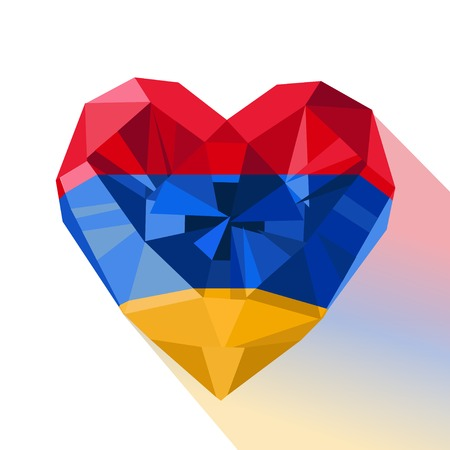 genocide: Vector crystal gem jewelry Armenian heart with the flag of the Republic of Armenia. Flat style logo symbol of love Armenia. Independence Day 21 September. Genocide Remembrance Day 24 April.