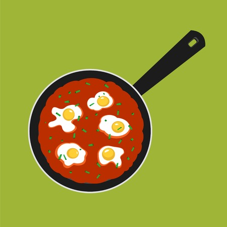 Vector Illustration of pan with Shakshouka. Breakfast with Sunny side up eggs and a sauce of tomatoes. Illustration