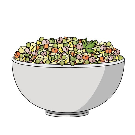 mayonnaise: Flat vector illustration of Russian salad. Image of russian traditional new years dish Olivier salad.