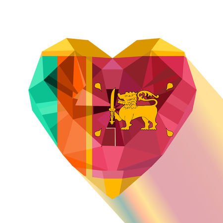 Vector crystal gem jewelry Sri Lankan heart with the flag of the Democratic Socialist Republic of Sri Lanka. Flat style logo symbol of love Ceylon.Independence of Sri Lankas day 4 February Flags day